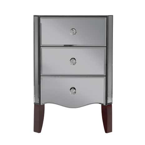 mirrored bedside table. viola smoke mirrored 3 drawer bedside table
