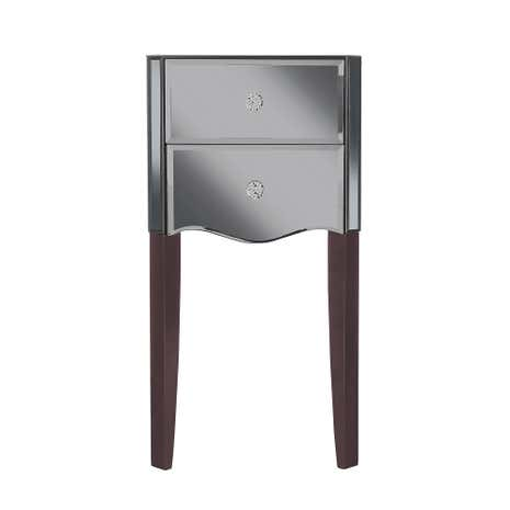 Viola Smoke Mirrored 2 Drawer Bedside Table