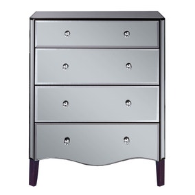 Viola Smoke Mirrored 4 Drawer Chest