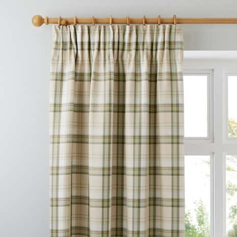 Balmoral Green Lined Pencil Pleat Curtains