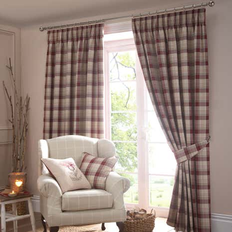 Balmoral Red Lined Pencil Pleat Curtains