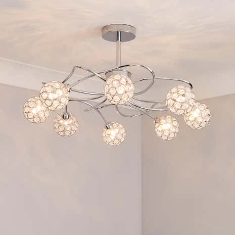 Chrome 8 Sphere Ceiling Light Fitting