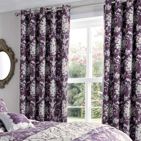 Adriana Sateen Plum Thermal Eyelet Curtains