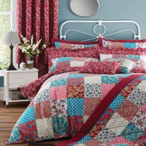 Red Ava Patchwork Bedspread