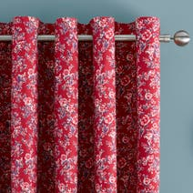 Red Ava Patchwork Thermal Eyelet Curtains