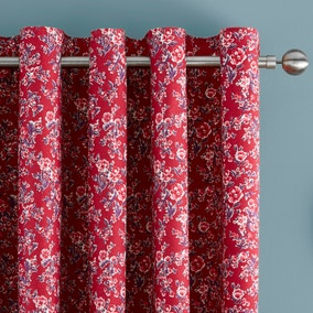 Ava Patchwork Red Thermal Eyelet Curtains
