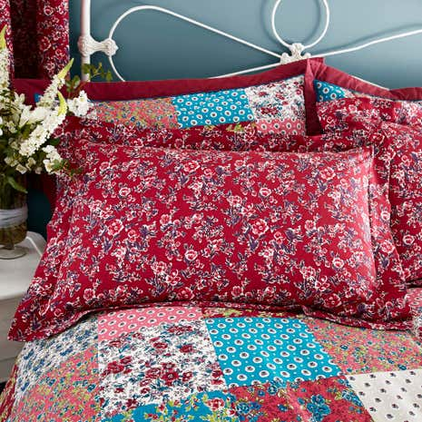 Ava Patchwork Red Oxford Pillowcase
