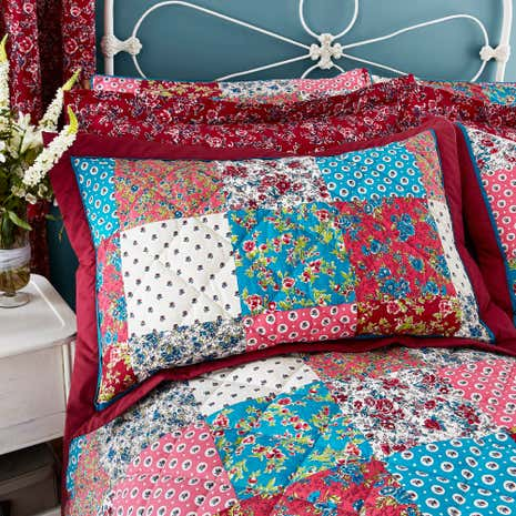 Ava Patchwork Red Pillow Sham