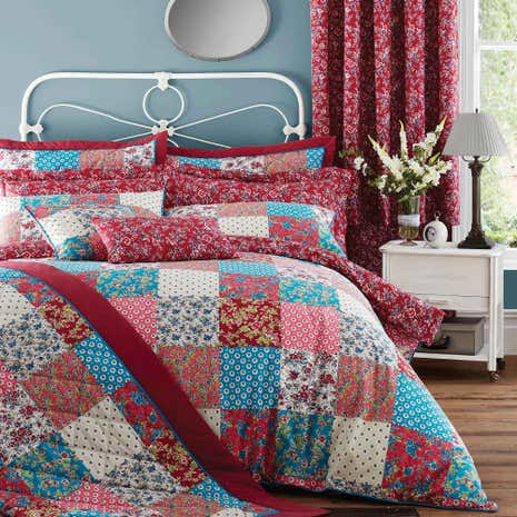 Ava Patchwork Red Duvet Cover and Pillowcase Set