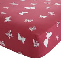 Kids Bright Butterflies Red 25cm Fitted Sheet