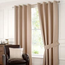 Natural Carnaby Lined Eyelet Curtains