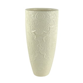 Cream Ceramic Lace Effect Vase