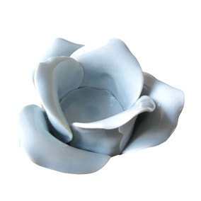 Blue Ceramic Rose Tealight Holder