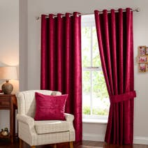 Cranberry Chenille Lined Eyelet Curtain