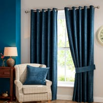 Teal Chenille Lined Eyelet Curtains