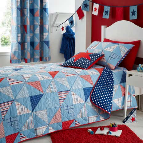 Cool Patchwork Blue Bedspread