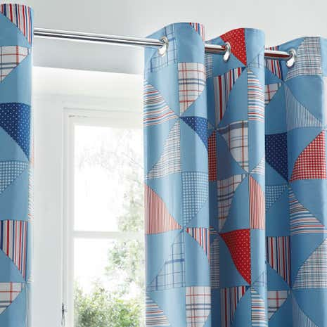 Cool Patchwork Blackout Eyelet Curtains
