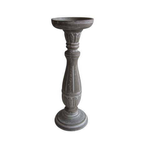 Grey Distressed Pillar Candle Holder