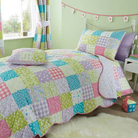 Ditsy Patchwork Multi Coloured Bedspread