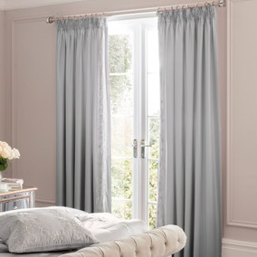 Dorma Brocatello Grey Lined Pencil Pleat Curtains