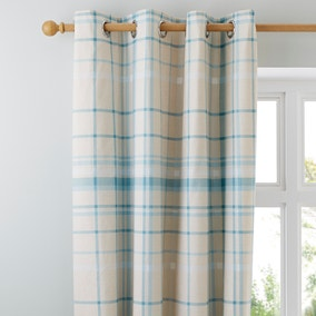 Check Duck Egg Thermal Eyelet Curtains