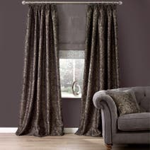 Elegant Script Pewter Thermal Pencil Pleat Curtains