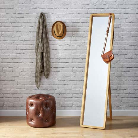 Elements Curved Edge Wooden Mirror