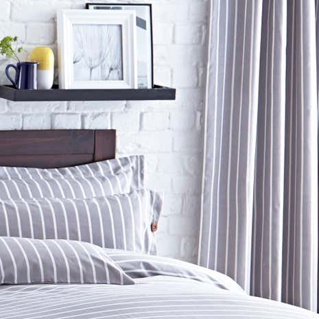 Elements Stripe Grey Thermal Eyelet Curtains