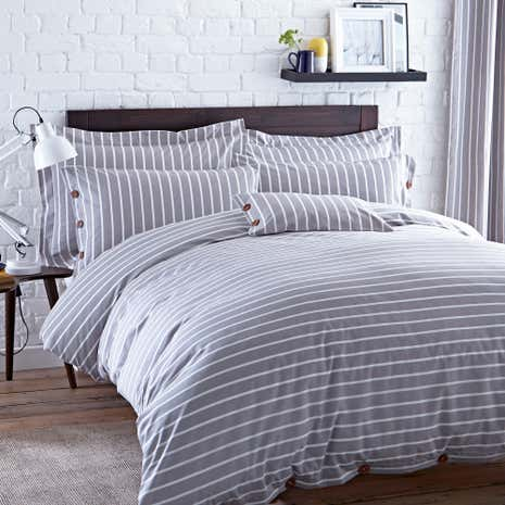 Elements Grey Stripe Duvet Cover and Pillowcase Set
