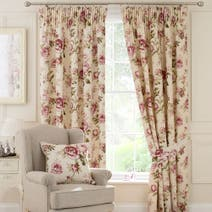 Cranberry Evelyn Lined Pencil Pleat Curtains