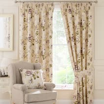 Plum Evelyn Lined Pencil Pleat Curtains