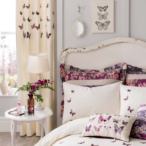Flora Butterfly Plum Thermal Eyelet Curtains