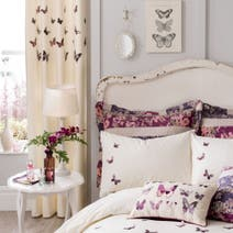 Plum Flora Butterfly Thermal Eyelet Curtains