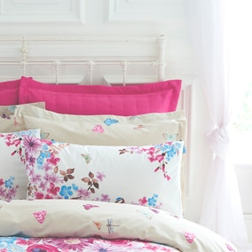 Flora Fauna Pink Oxford Pillowcase