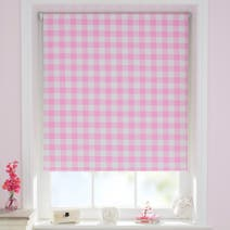 Pink Gingham Cordless Blackout Roller Blind