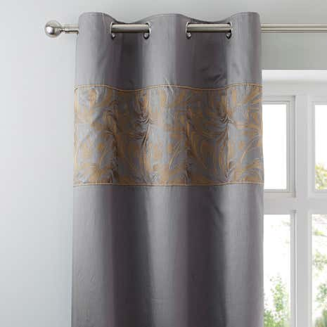 Grayson Pewter Thermal Eyelet Curtains