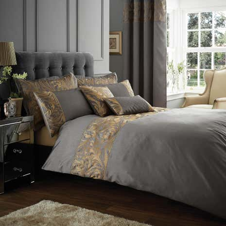 grayson embroidered pewter duvet cover dunelm. Black Bedroom Furniture Sets. Home Design Ideas
