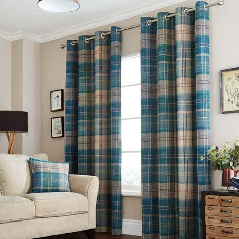 Hamish Teal Lined Eyelet Curtains Part 49