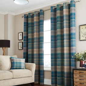 Hamish Teal Lined Eyelet Curtains