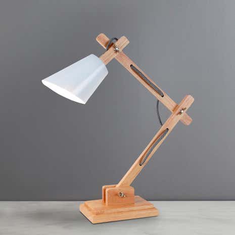Cream Harry Wood and Metal Desk Lamp