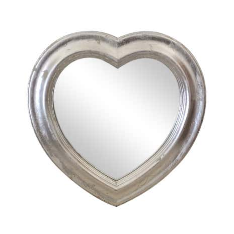 Silver Wooden Heart Mirror