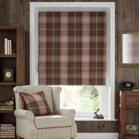 Highland Red Check Blackout Roman Blind