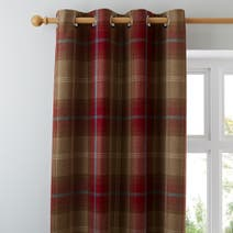 Wine Highland Check Lined Eyelet Curtains