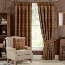 Rust Highland Lined Pencil Pleat Curtains