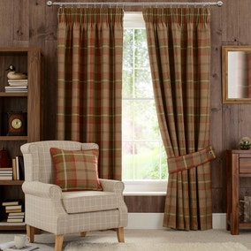 Highland Check Rust Lined Pencil Pleat Curtains
