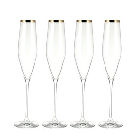 Hotel Gold Pack of 4 Flute Glasses