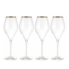 Gold Pack of 4 White Wine Glasses