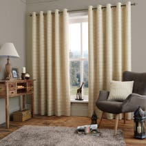 Natural Kamala Lined Eyelet Curtains