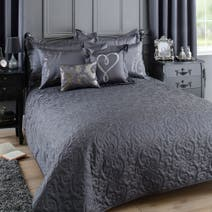 Kiss Me Goodnight Charcoal Bedspread