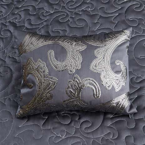 Kiss Me Goodnight Charcoal Boudoir Cushion